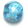 Glass Beads 14mm Round Flat Aqua With Flower